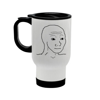 Feel guy, Κούπα ταξιδιού ανοξείδωτη με καπάκι, διπλού τοιχώματος (θερμό) λευκή 450ml