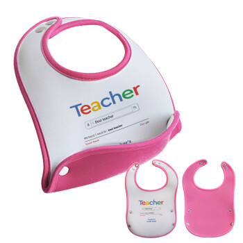 Searching for Best Teacher..., Σαλιάρα μωρού Ροζ κοριτσάκι, 100% Neoprene (18x19cm)