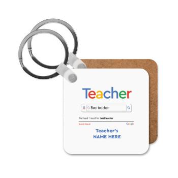Searching for Best Teacher..., Μπρελόκ Ξύλινο τετράγωνο MDF 5cm (3mm πάχος)