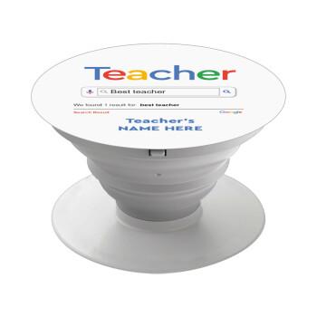 Searching for Best Teacher..., Pop Socket Λευκό Βάση Στήριξης Κινητού στο Χέρι