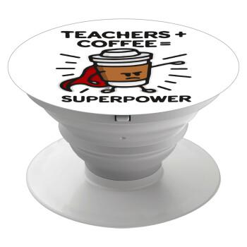 Teacher Coffee Super Power, Pop Socket Λευκό Βάση Στήριξης Κινητού στο Χέρι