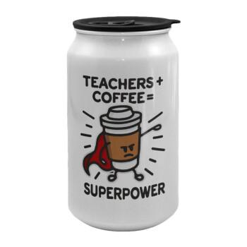 Teacher Coffee Super Power, Κούπα ταξιδιού μεταλλική με καπάκι (tin-can) 500ml