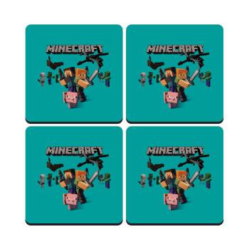 Minecraft Alex, ΣΕΤ 4 Σουβέρ ξύλινα τετράγωνα