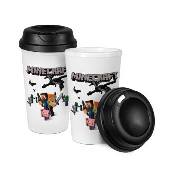 Minecraft Alex, Κούπα ταξιδιού πλαστικό (BPA-FREE) με καπάκι βιδωτό, διπλού τοιχώματος (θερμό) 330ml (1 τεμάχιο)