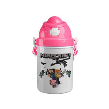 Minecraft Alex, Ροζ παιδικό παγούρι πλαστικό με καπάκι ασφαλείας, κορδόνι και καλαμάκι, 400ml
