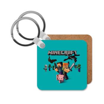 Minecraft Alex, Μπρελόκ Ξύλινο τετράγωνο MDF 5cm (3mm πάχος)