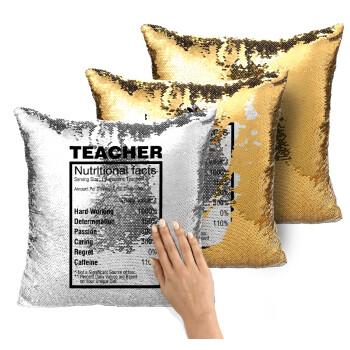 Τα συστατικά του δασκάλου, Μαξιλάρι καναπέ Μαγικό Χρυσό με πούλιες 40x40cm περιέχεται το γέμισμα