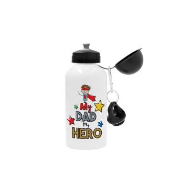 My Dad, my Hero!!!, Μεταλλικό παγούρι ποδηλάτου Λευκό 500ml