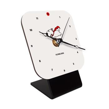 Flying DOG, Επιτραπέζιο ρολόι ξύλινο με δείκτες (10cm)