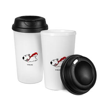 Flying DOG, Κούπα ταξιδιού πλαστικό (BPA-FREE) με καπάκι βιδωτό, διπλού τοιχώματος (θερμό) 330ml (1 τεμάχιο)