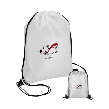 Flying DOG, Τσάντα πουγκί με μαύρα κορδόνια 45χ35cm (1 τεμάχιο)