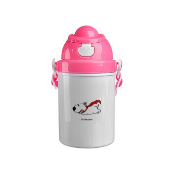 Flying DOG, Ροζ παιδικό παγούρι πλαστικό με καπάκι ασφαλείας, κορδόνι και καλαμάκι, 400ml