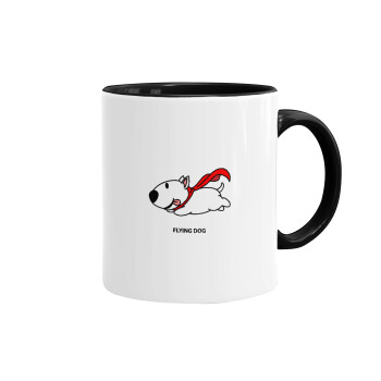 Flying DOG, Κούπα χρωματιστή μαύρη, κεραμική, 330ml
