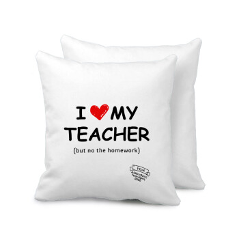 i love my teacher but no the homework, Μαξιλάρι καναπέ 40x40cm περιέχεται το γέμισμα