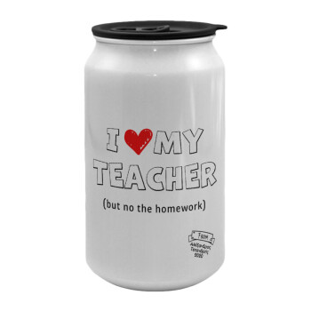 i love my teacher but no the homework outline, Κούπα ταξιδιού μεταλλική με καπάκι (tin-can) 500ml