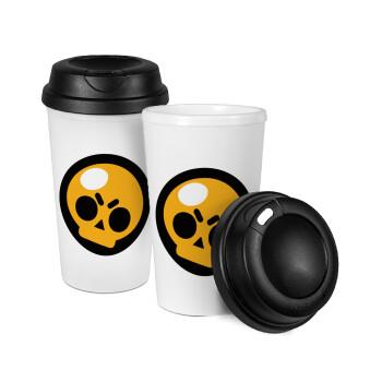 Brawl Stars Skull, Κούπα ταξιδιού πλαστικό (BPA-FREE) με καπάκι βιδωτό, διπλού τοιχώματος (θερμό) 330ml (1 τεμάχιο)