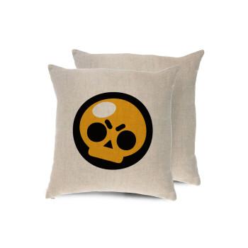 Brawl Stars Skull, Μαξιλάρι καναπέ ΛΙΝΟ 40x40cm περιέχεται το γέμισμα