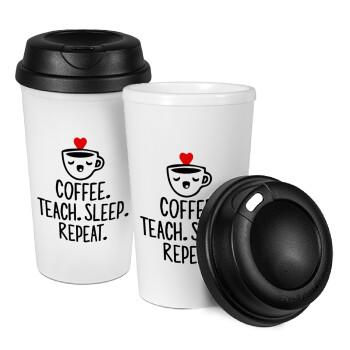Coffee Teach Sleep Repeat, Κούπα ταξιδιού πλαστικό (BPA-FREE) με καπάκι βιδωτό, διπλού τοιχώματος (θερμό) 330ml (1 τεμάχιο)