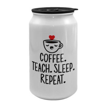Coffee Teach Sleep Repeat, Κούπα ταξιδιού μεταλλική με καπάκι (tin-can) 500ml