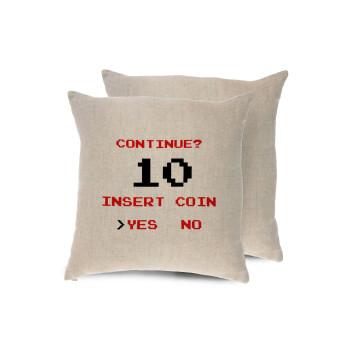 Continue? YES - NO, Μαξιλάρι καναπέ ΛΙΝΟ 40x40cm περιέχεται το γέμισμα