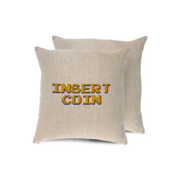 Insert coin!!!, Μαξιλάρι καναπέ ΛΙΝΟ 40x40cm περιέχεται το γέμισμα