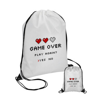 GAME OVER, Play again? YES - NO, Τσάντα πουγκί με μαύρα κορδόνια 45χ35cm (1 τεμάχιο)