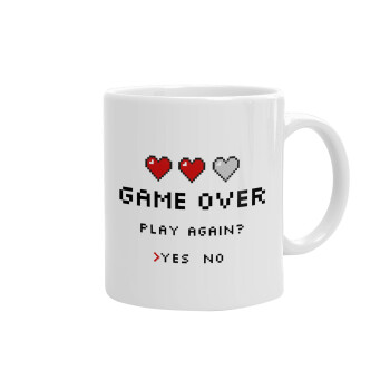 GAME OVER, Play again? YES - NO, Κούπα, κεραμική, 330ml (1 τεμάχιο)