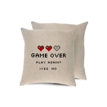 GAME OVER, Play again? YES - NO, Μαξιλάρι καναπέ ΛΙΝΟ 40x40cm περιέχεται το γέμισμα