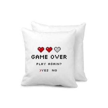 GAME OVER, Play again? YES - NO, Μαξιλάρι καναπέ 40x40cm περιέχεται το γέμισμα