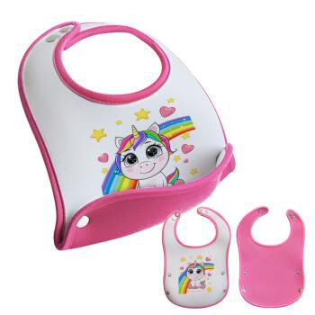 Unicorn baby με όνομα, Σαλιάρα μωρού Ροζ κοριτσάκι, 100% Neoprene (18x19cm)