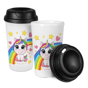 Unicorn baby με όνομα, Κούπα ταξιδιού πλαστικό (BPA-FREE) με καπάκι βιδωτό, διπλού τοιχώματος (θερμό) 330ml (1 τεμάχιο)