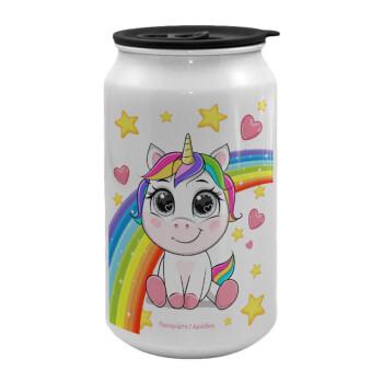 Unicorn baby με όνομα, Κούπα ταξιδιού μεταλλική με καπάκι (tin-can) 500ml