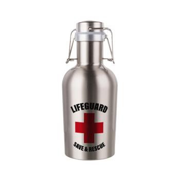 Lifeguard Save & Rescue, Μεταλλικό παγούρι Inox (Stainless steel) με καπάκι ασφαλείας 1L