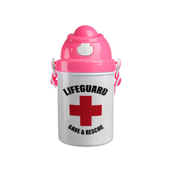 Lifeguard Save & Rescue, Ροζ παιδικό παγούρι πλαστικό με καπάκι ασφαλείας, κορδόνι και καλαμάκι, 400ml