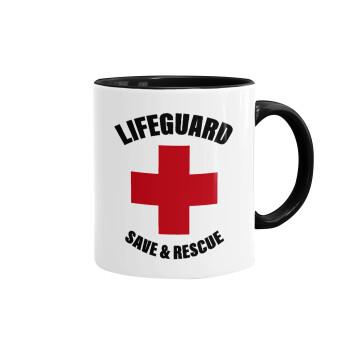 Lifeguard Save & Rescue, Κούπα χρωματιστή μαύρη, κεραμική, 330ml