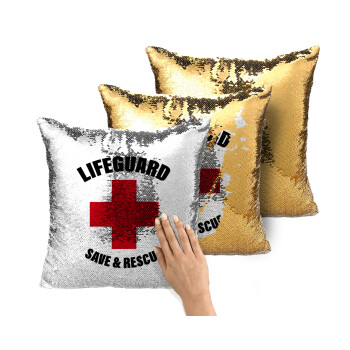 Lifeguard Save & Rescue, Μαξιλάρι καναπέ Μαγικό Χρυσό με πούλιες 40x40cm περιέχεται το γέμισμα