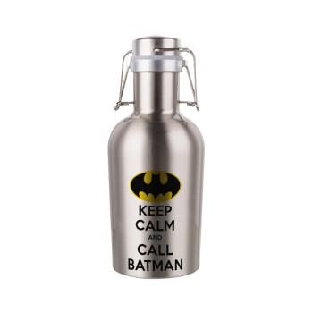 KEEP CALM & Call BATMAN, Μεταλλικό παγούρι Inox (Stainless steel) με καπάκι ασφαλείας 1L