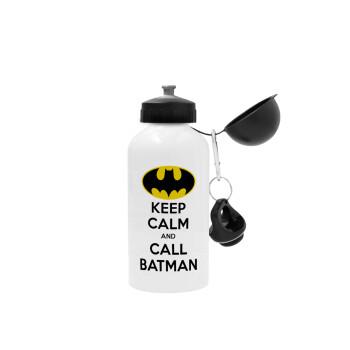 KEEP CALM & Call BATMAN, Μεταλλικό παγούρι ποδηλάτου Λευκό 500ml