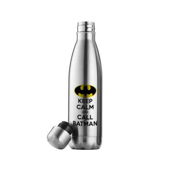 KEEP CALM & Call BATMAN, Μεταλλικό παγούρι θερμός Inox (Stainless steel 304), διπλού τοιχώματος, 500ml