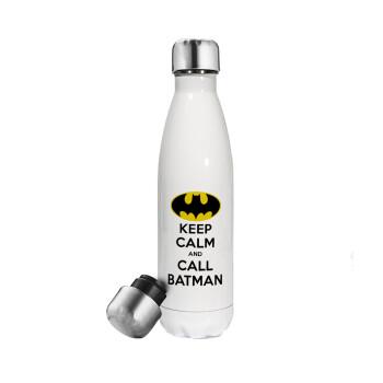 KEEP CALM & Call BATMAN, Μεταλλικό παγούρι θερμός Λευκό (Stainless steel 304), διπλού τοιχώματος, 500ml