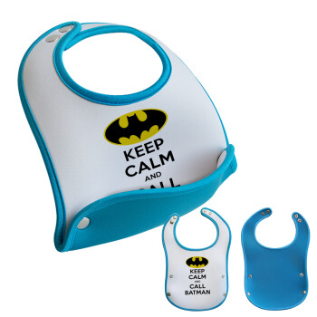 KEEP CALM & Call BATMAN, Σαλιάρα μωρού Μπλε αγοράκι, 100% Neoprene (18x19cm)