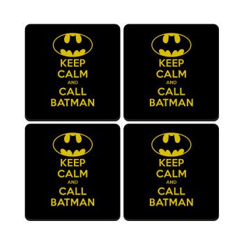 KEEP CALM & Call BATMAN, ΣΕΤ 4 Σουβέρ ξύλινα τετράγωνα