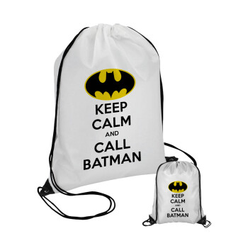 KEEP CALM & Call BATMAN, Τσάντα πουγκί με μαύρα κορδόνια 45χ35cm (1 τεμάχιο)