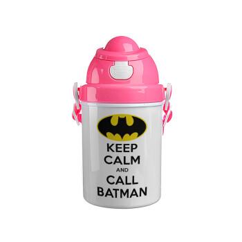 KEEP CALM & Call BATMAN, Ροζ παιδικό παγούρι πλαστικό με καπάκι ασφαλείας, κορδόνι και καλαμάκι, 400ml
