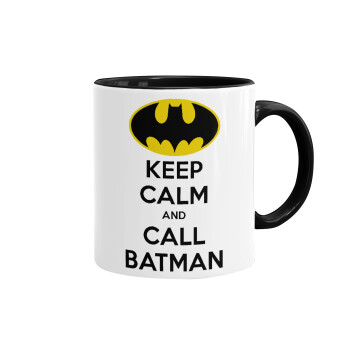 KEEP CALM & Call BATMAN, Κούπα χρωματιστή μαύρη, κεραμική, 330ml