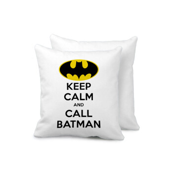 KEEP CALM & Call BATMAN, Μαξιλάρι καναπέ 40x40cm περιέχεται το γέμισμα