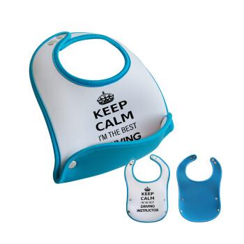 KEEP CALM I'M THE BEST DRIVING INSTRUCTOR, Σαλιάρα μωρού Μπλε αγοράκι, 100% Neoprene (18x19cm)