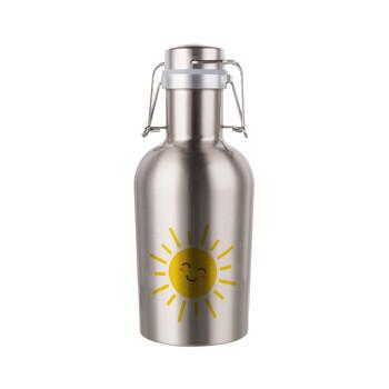 Happy sun, Μεταλλικό παγούρι Inox (Stainless steel) με καπάκι ασφαλείας 1L