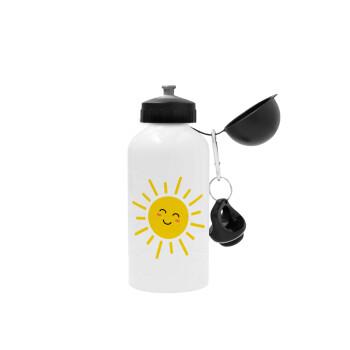 Happy sun, Μεταλλικό παγούρι ποδηλάτου Λευκό 500ml