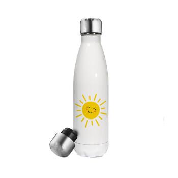 Happy sun, Μεταλλικό παγούρι θερμός Λευκό (Stainless steel 304), διπλού τοιχώματος, 500ml